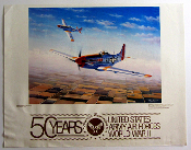 50 Years US Army Air Force WWII poster P-51