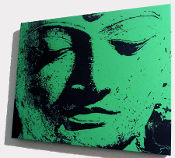 Green Buddah 20x16 stretched canvas Wall Hanging NEW!
